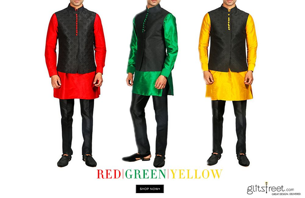 RED, GREEN or YELLOW: Which colour would you wear of this smart ensemble. Shop the collection of kurtas, waistcoats and sherwanis by CP Singh now at: http://ow.ly/SpPlK