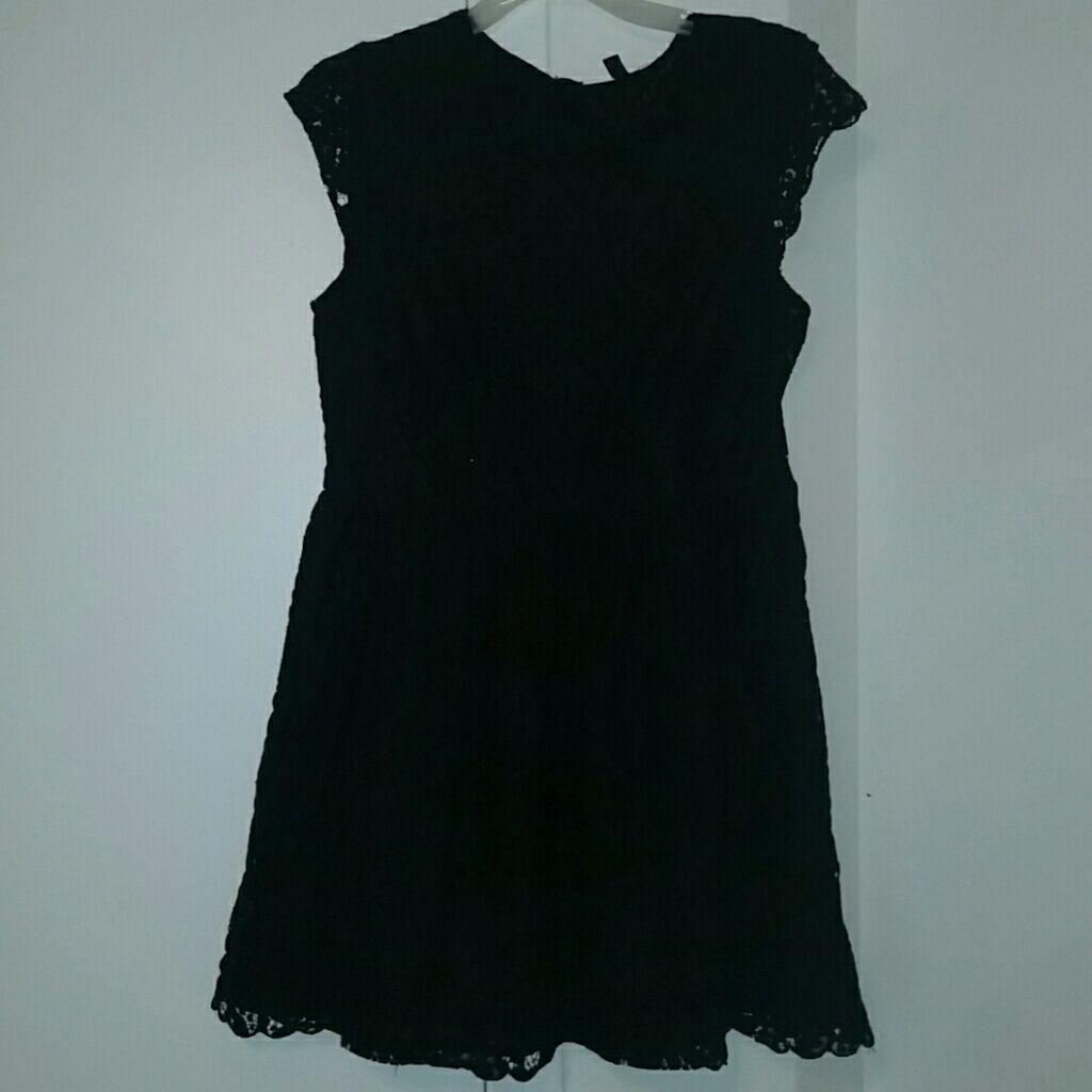 H&m blue lace dress  HuM Black Lace Cocktail Dress LargeXl Size  Black lace cocktail