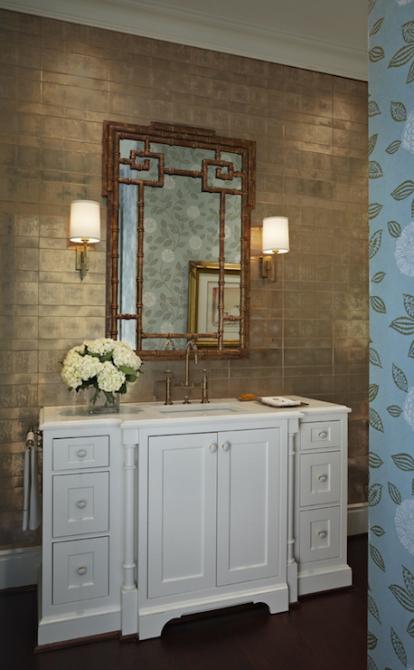Gorgeous Bathroom With Gold Metallic Wallpaper And Bamboo