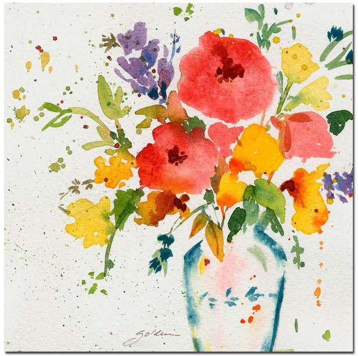 Vase With Bright Floral Canvas Wall Art Flower Canvas Art Flower Canvas Golden Painting