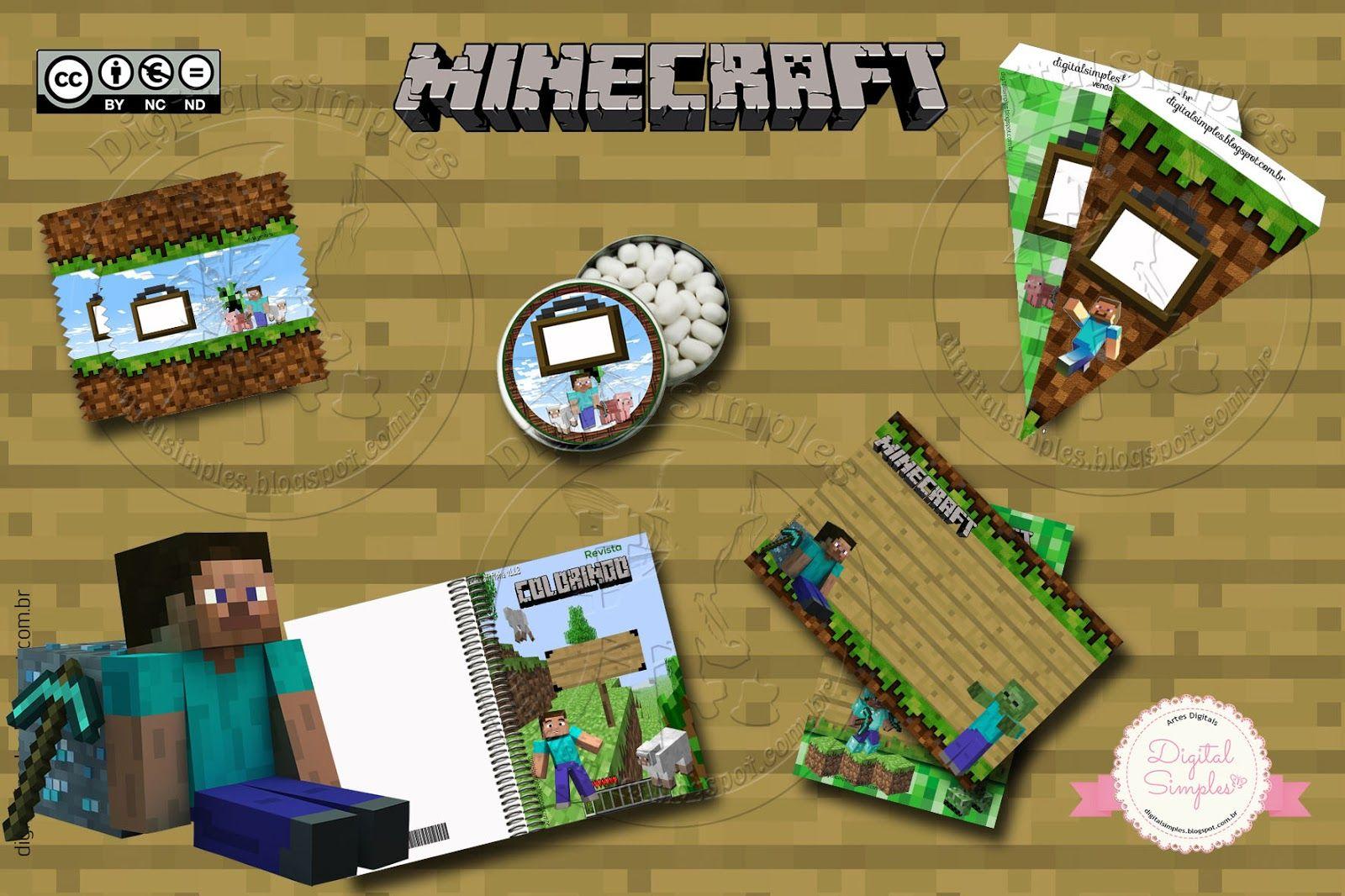 """O trabalho Festa Aniversário Digital """"Minecraft"""" para Imprimir  de Rosane Siqueira  está licenciado com uma Licença Creative Commons - ..."""