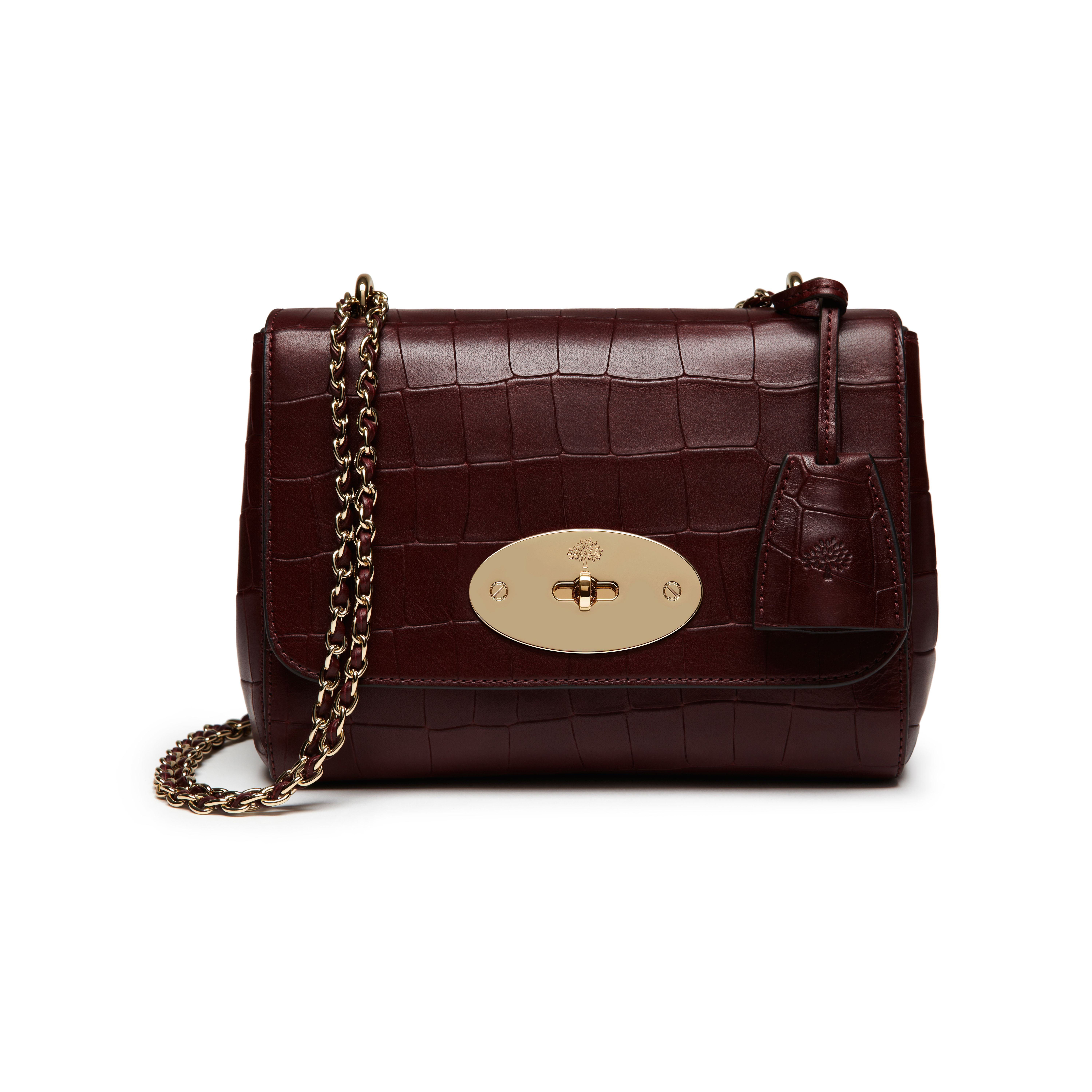 ea0322984e40 Mulberry - Lily in Oxblood Deep Embossed Croc Print