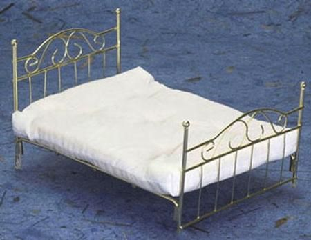 Brass Bed with Mattress | Mary's Dollhouse Miniatures