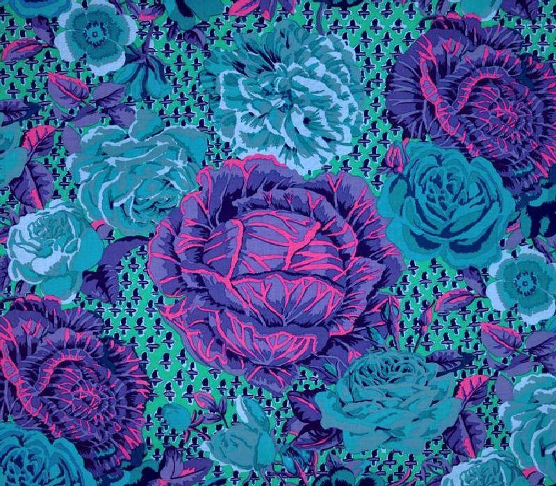 2 x FQ/'s Kaffe Fassett Kimono Cobolt Turquoise Cotton Quilting Fabrics 1//2 Yard