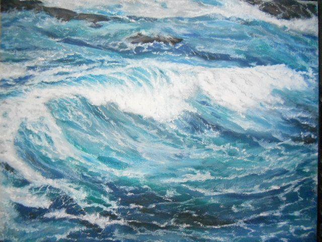 How To Get Started In Painting Ocean Water Scenes Using Ops Oil Pastel Paintings Watercolor Ocean Oil Pastel Landscape