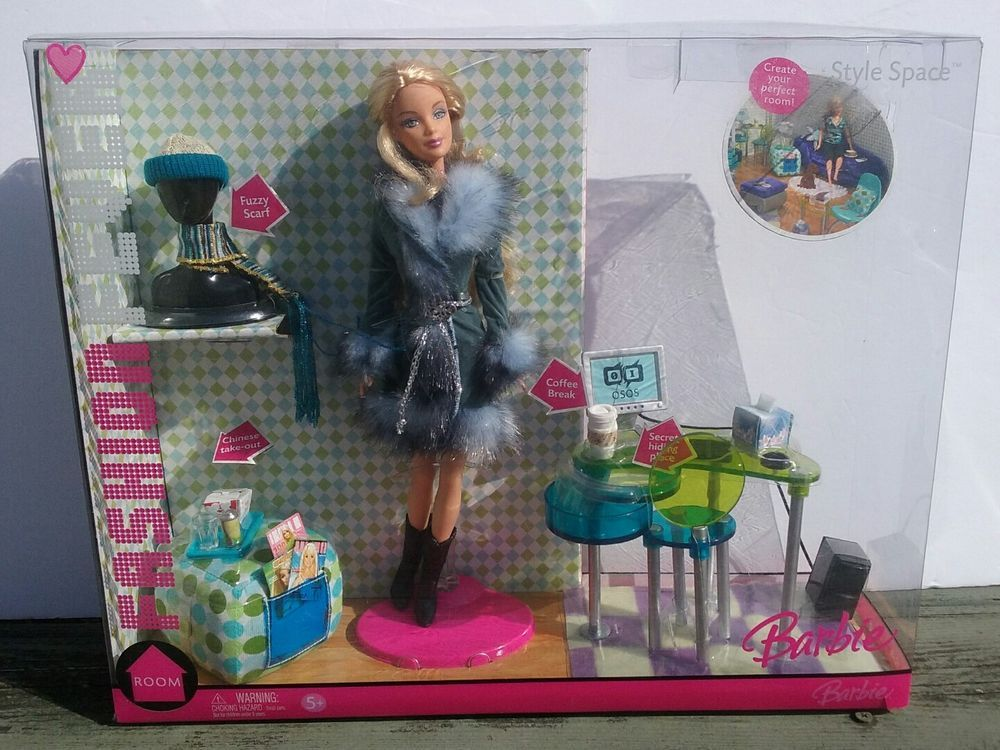 Barbie Fashion Fever Style Space House Computer Furniture 1 6 Set