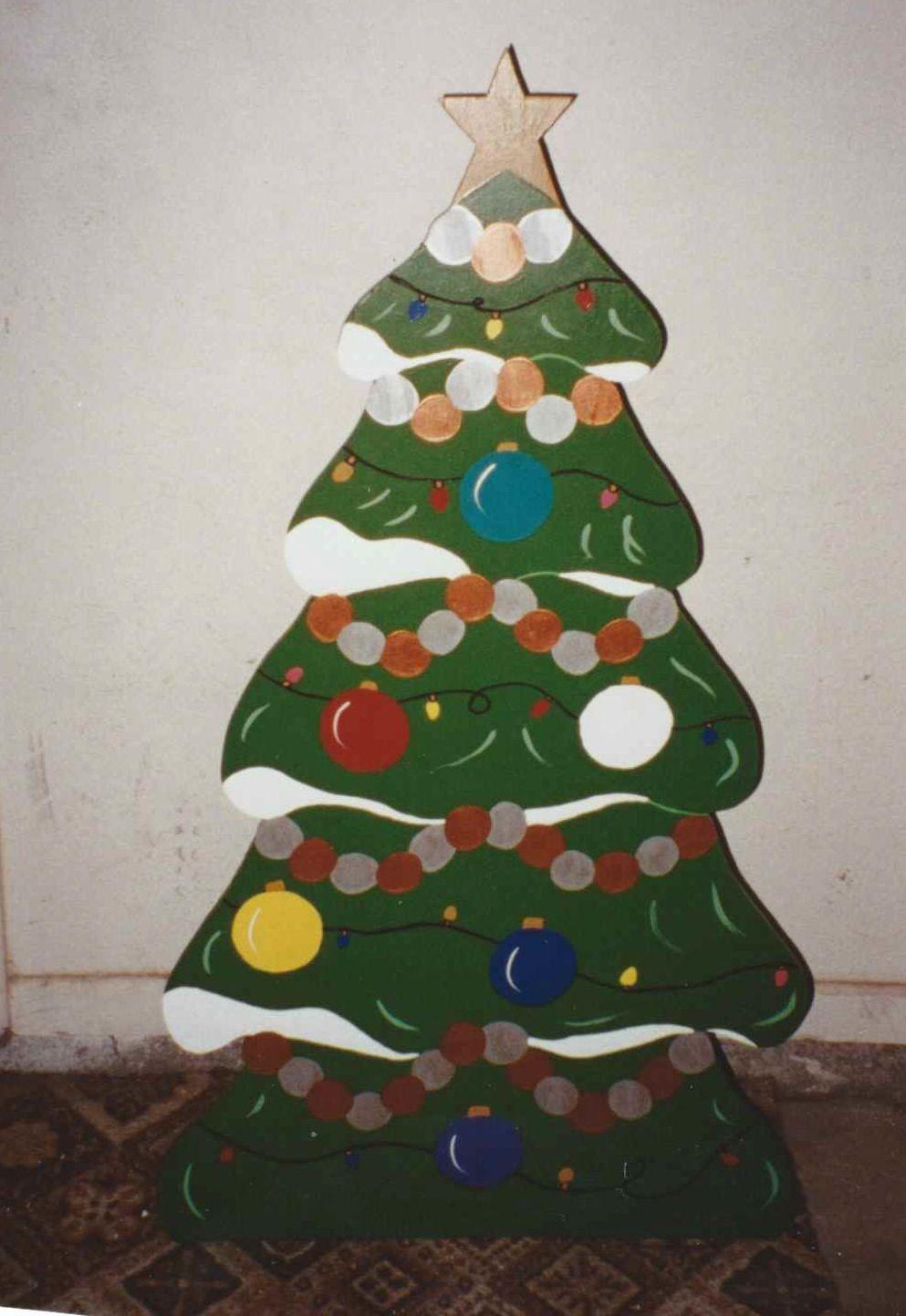 Small christmas tree christmas yard decoration i made for Plywood christmas tree