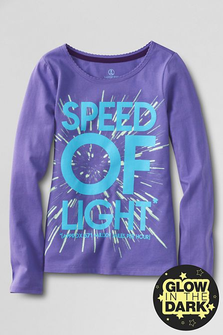 Girls Glow In The Dark Space Graphic T Shirt From Lands End