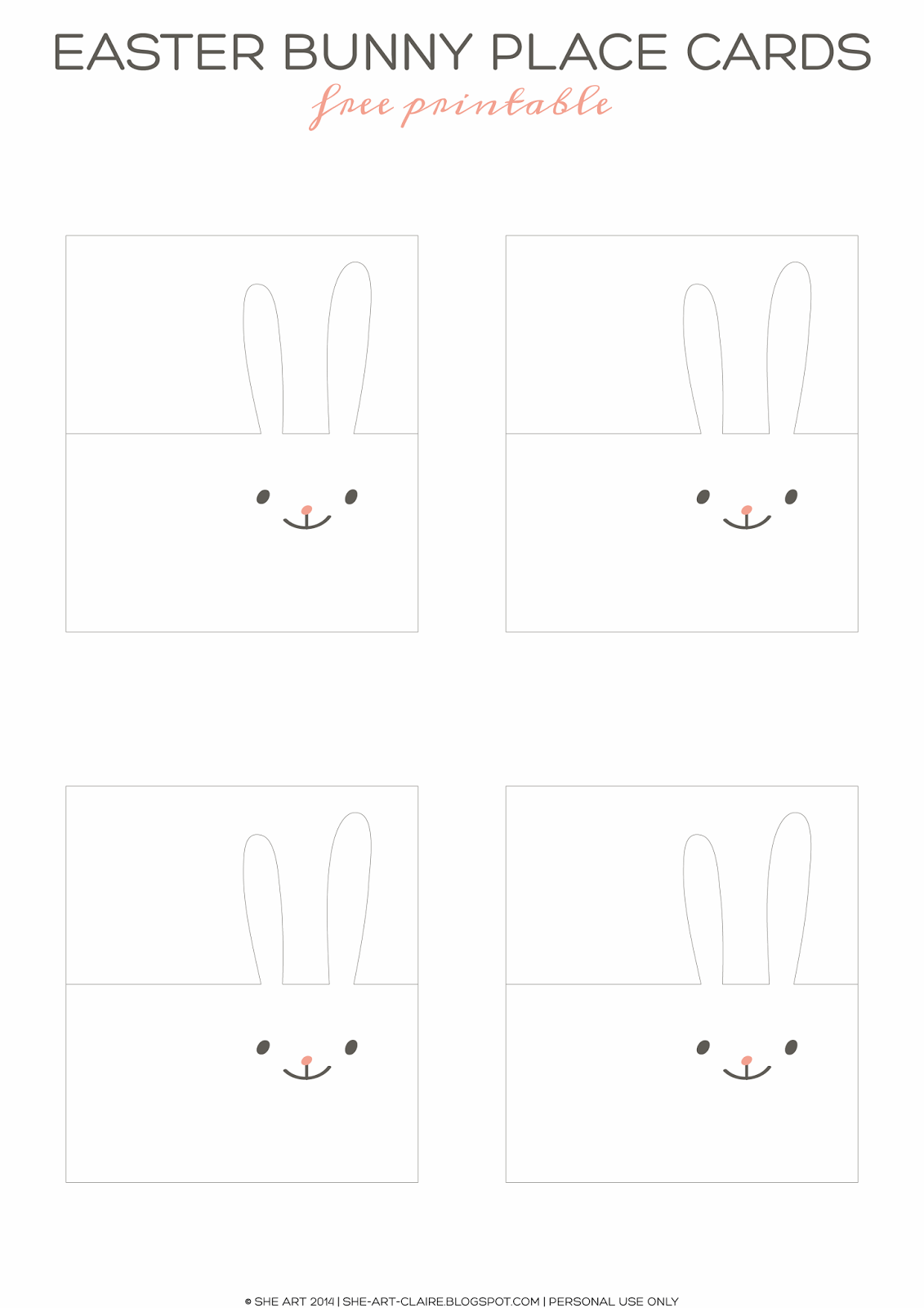 She Art Easter Party Mini Kit Bunny Place Cards Free Printable Tutorial Easter Party Easter Birthday Party Easter Birthday