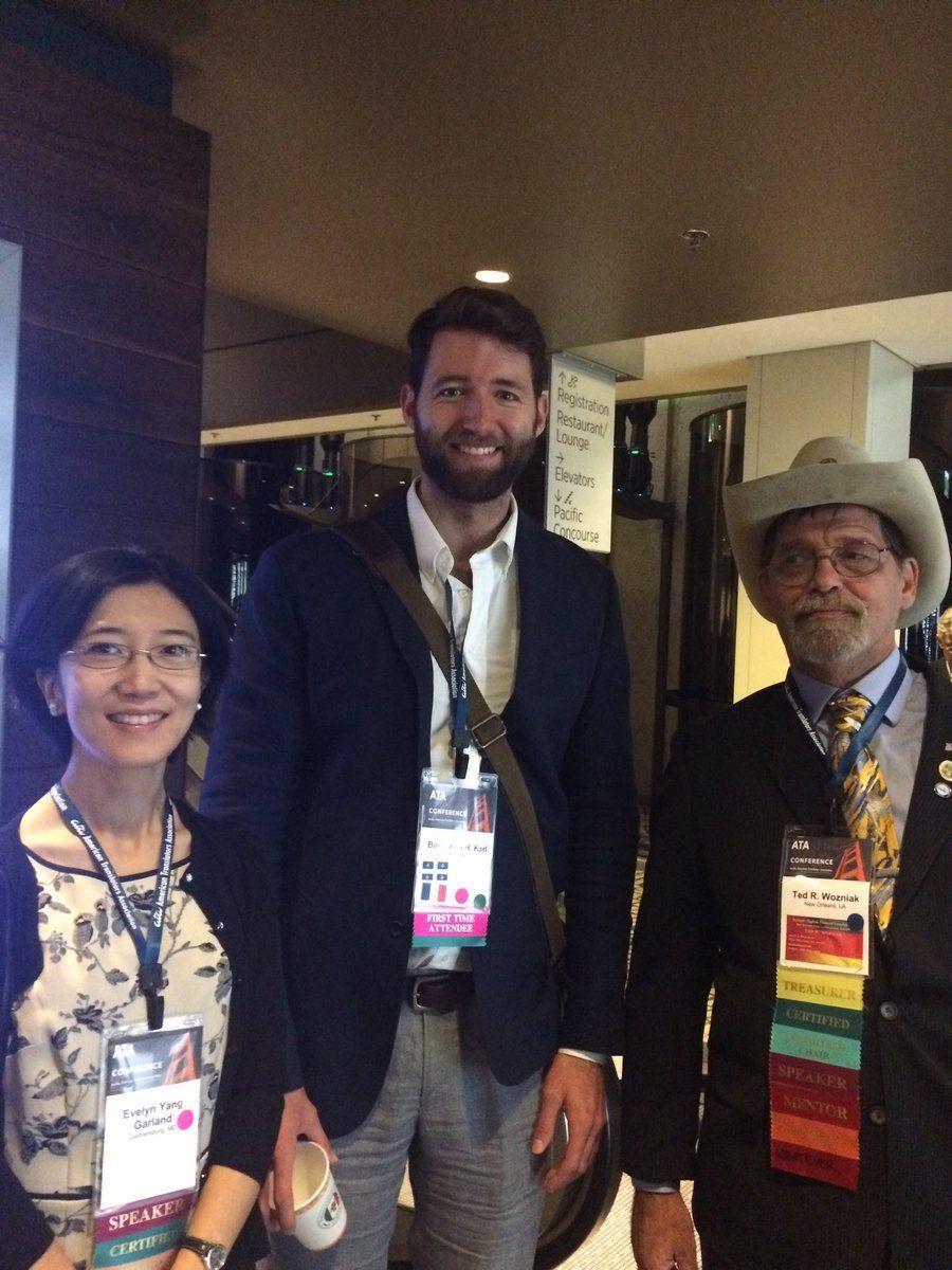 Friday I met ATA treasurer Ted Wozniak and Director Evelyn Yang Garland today! #picturechallenge #ata57