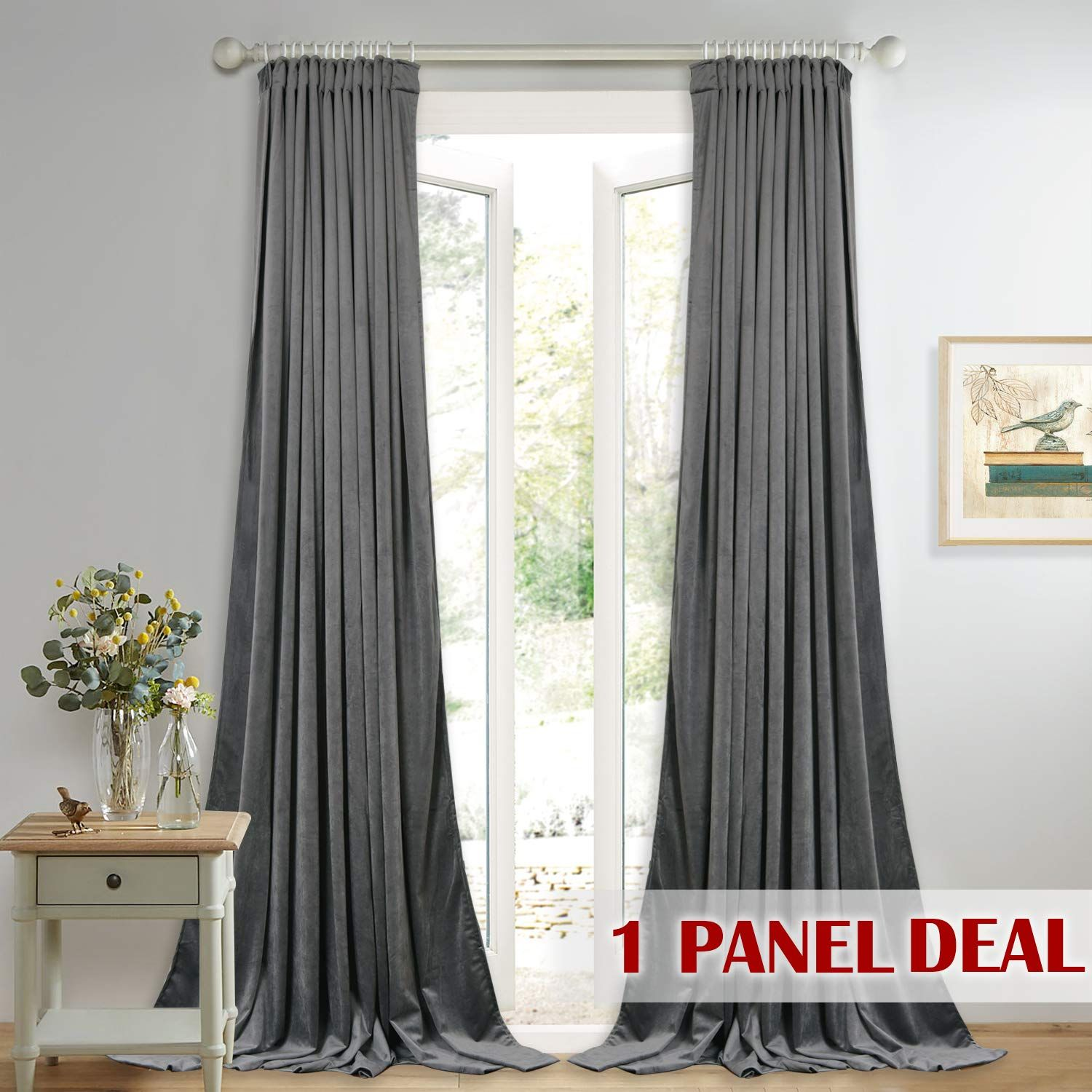 Grey Velvet Curtains For Sliding Door Sunlight And Heat Redu