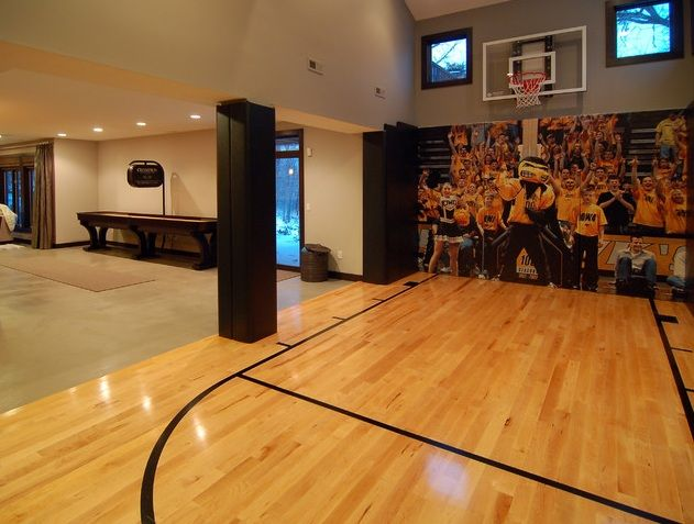 Move Over Home Gyms Sports Courts Are On The Rise Home Basketball Court Finishing Basement Dream House