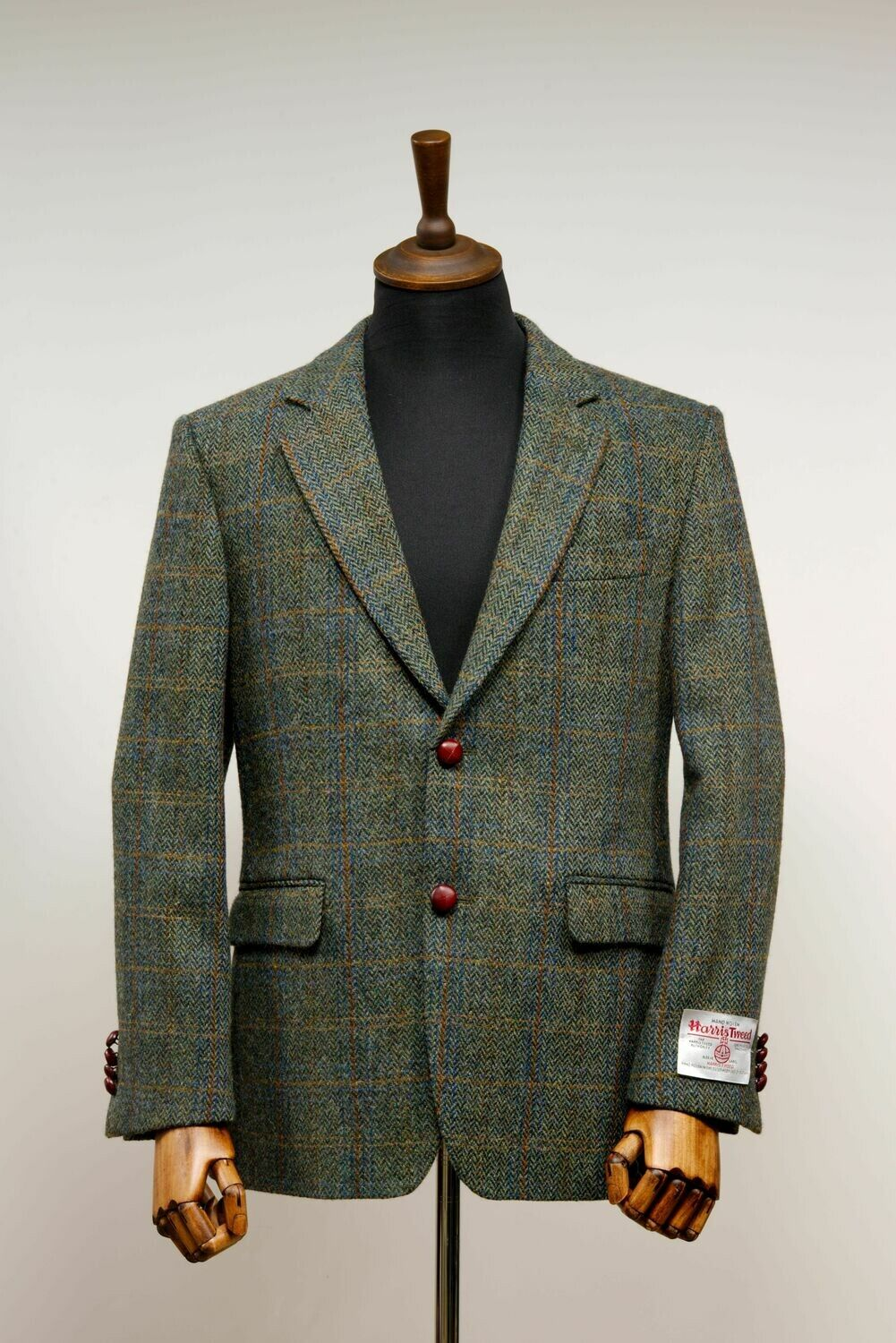 Harris Tweed Mens Jacket Green Herringbone With Overcheck Harris Tweed Jacket Tweed Blazer Men Tweed Men