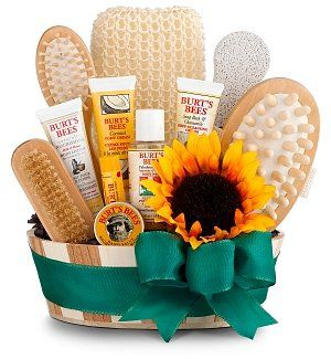 Burt's Bee Bath & Body invigoration basket - pamper a favorite lady!  Great gift for Mom, grandma, or a friend.