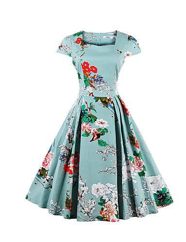 Big Yard Ladies Party/Cocktail Vintage Sheath / Swing Dress,Floral Square Neck Knee-length Short Sleeve Blue / Black 5227918 2016 – $16.99