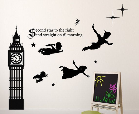 Great Disney Peter Pan Wall Decal Tinkerbell, Wendy, John, And Michael Flying To  Neverland Second Star To The Right Vinyl Sticker