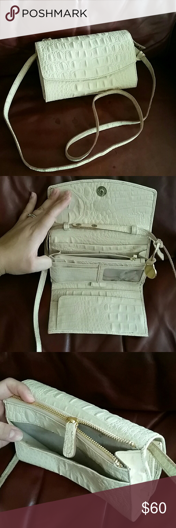 Brahmin crossbody Gently used. Creamy white leather with optional strap for crossbody or wallet. Multiple compartments. Strap in good condition. Auth. Best offer accepted :) Brahmin Bags Crossbody Bags