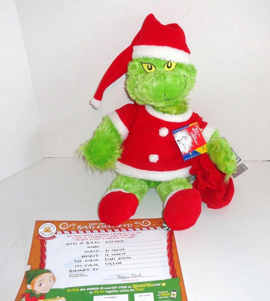 New Build A Bear Christmas Grinch Plush Doll Light Up Heart W