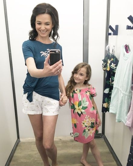in the dressing room at old navy for some mommy and me