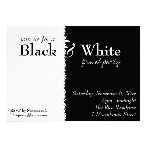 Black And White 2 Theme Party Invitation Party Invitations