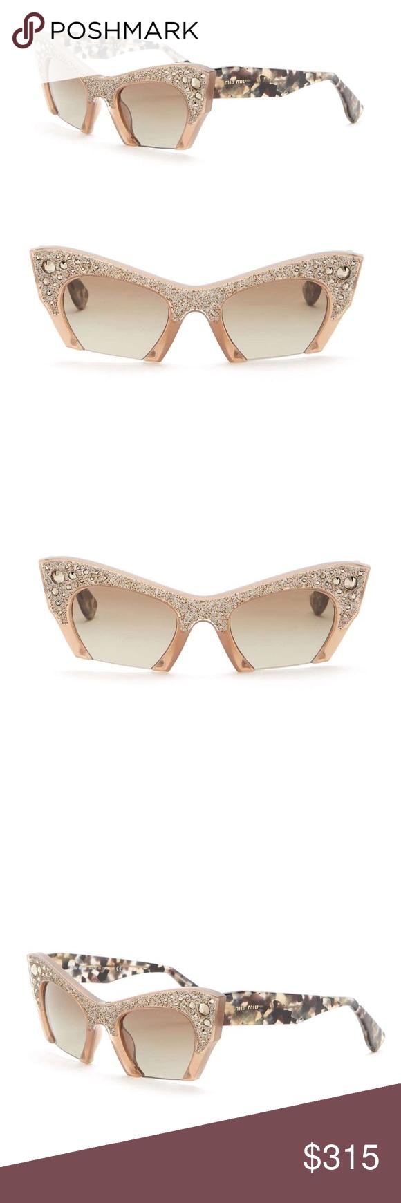 6464fd76d82e Miu Miu Rasoir Crystal Rock Half Rim Sunglasses The Miu Miu offers a bold