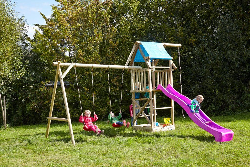 Spielturm Asterix mit Doppelschaukel und violetter Rutsche bei dein ...