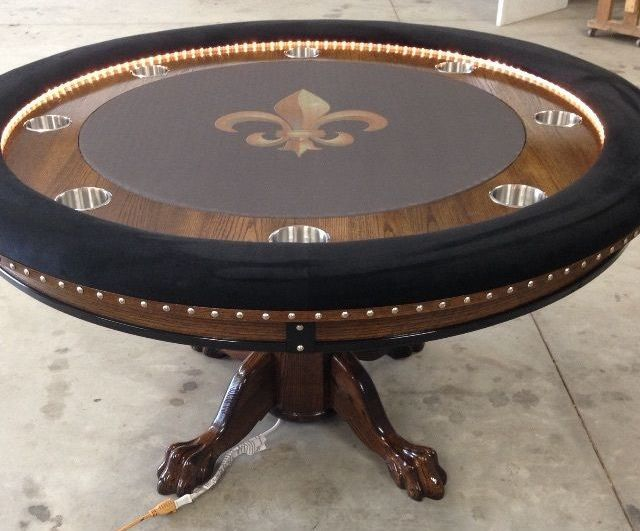 Round Saints Poker Tables With Rope Lights Custom Poker Tables Poker Table Round Poker Table