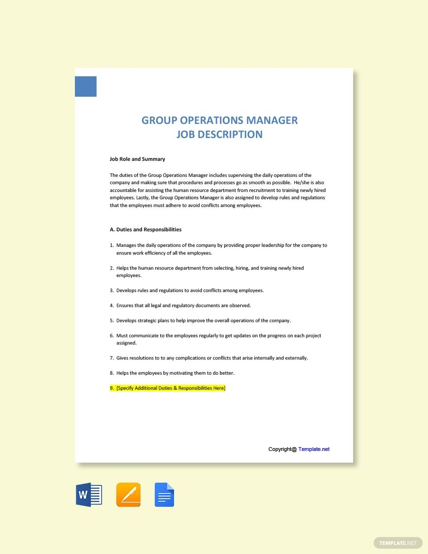 Free Group Operations Manager Job Description Template Word Apple Pages Google Docs In 2020 Job Description Template Jobs For Teachers Job Description