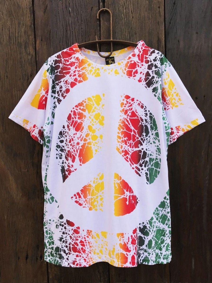 9e220285e4 Camiseta Indiana Masculina Tie-Dye Paz e Amor Branca. Apenas R  53 ...