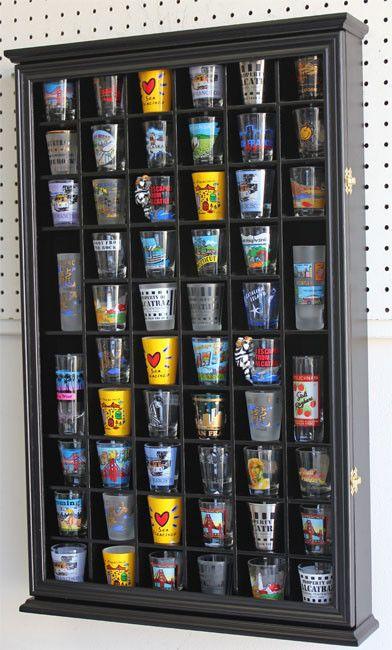 56 Shot Glass Display Case Holder Cabinet Holder Rack, Glass door ...