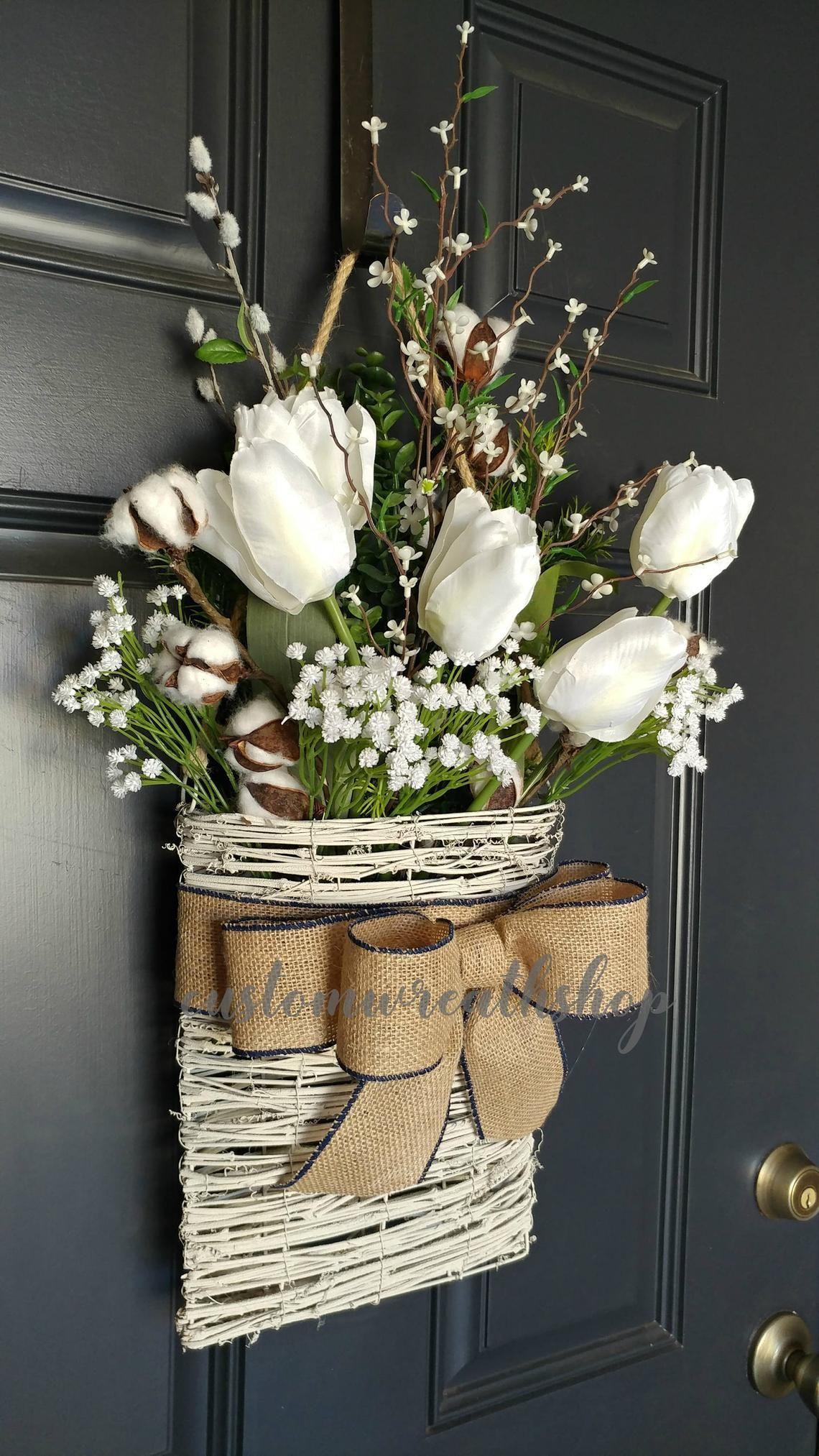 Photo of Cotton WreathFarmhouse Wall DecorTulip WreathFront Door   Etsy