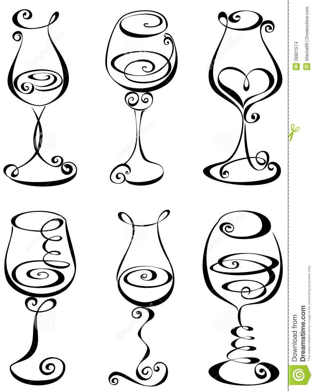 Set Stylized Wine Glass Stock Images Image 28821574