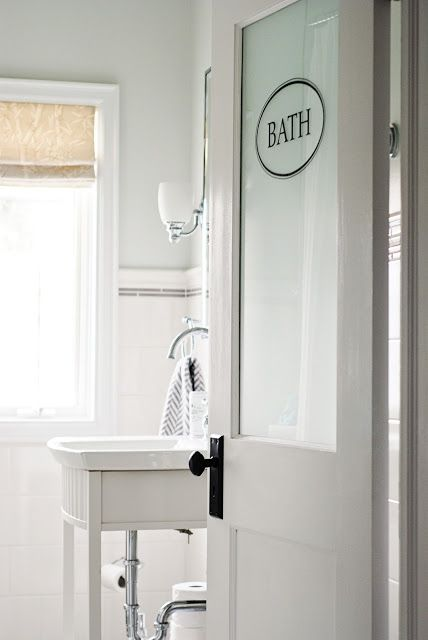 I D Love A Frosted Bathroom Door In Our Master Bath Feel Like It Would Make Larger Or At Least Bit More Open Might Also Let Light From