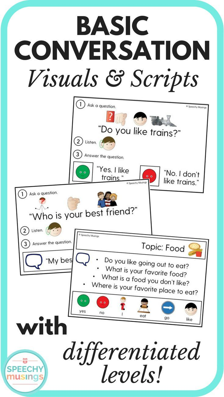 Basic Conversation Visuals And Scripts For Speech Therapy Aac