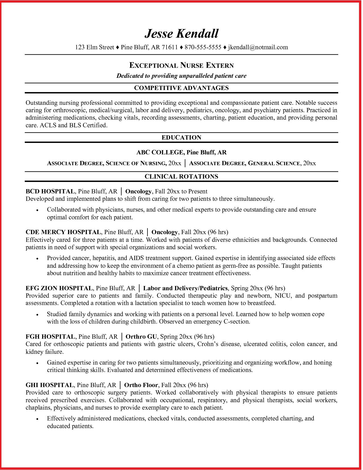 Oncology Nurse Resume Sample Student Nurse Resume Student Resume Template Nursing Resume Examples