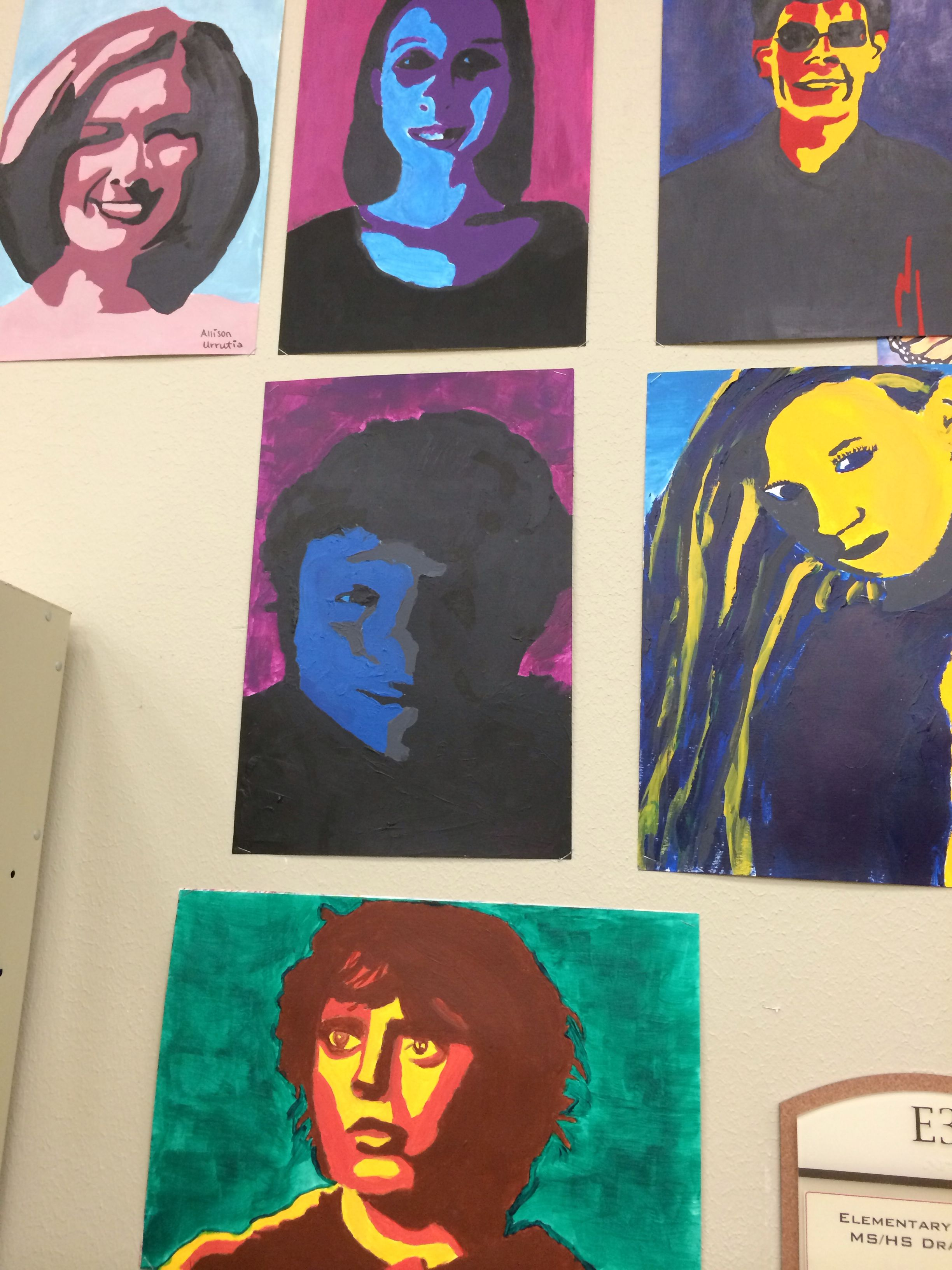 "Student portraits of ""someone you admire"" after studying Andy Warhol"