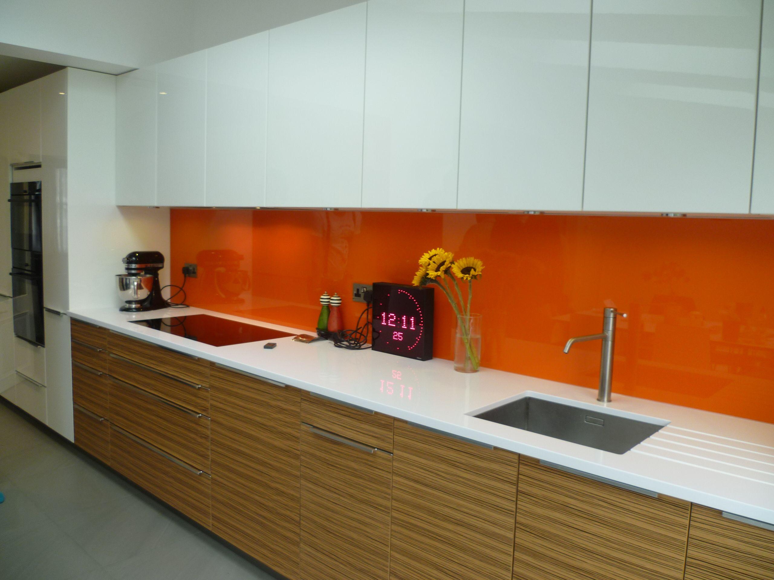 Gorgeous orange glass splash back www.shandlerhomes.co.uk | Idea ...