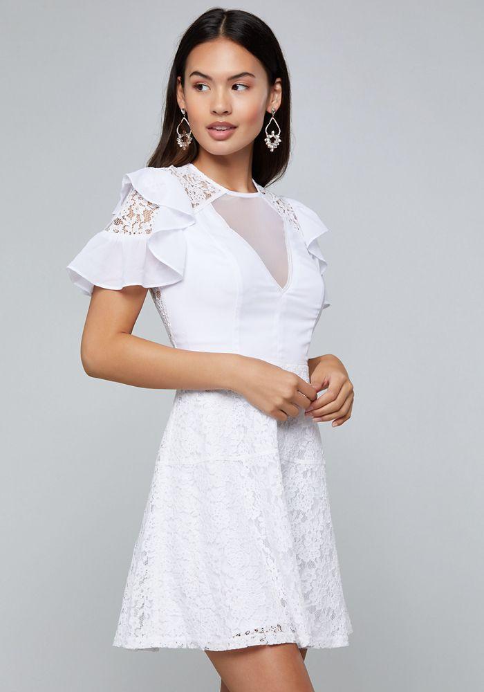 78e58b66a1a Bebe Women s Lace Detail Flared Dress