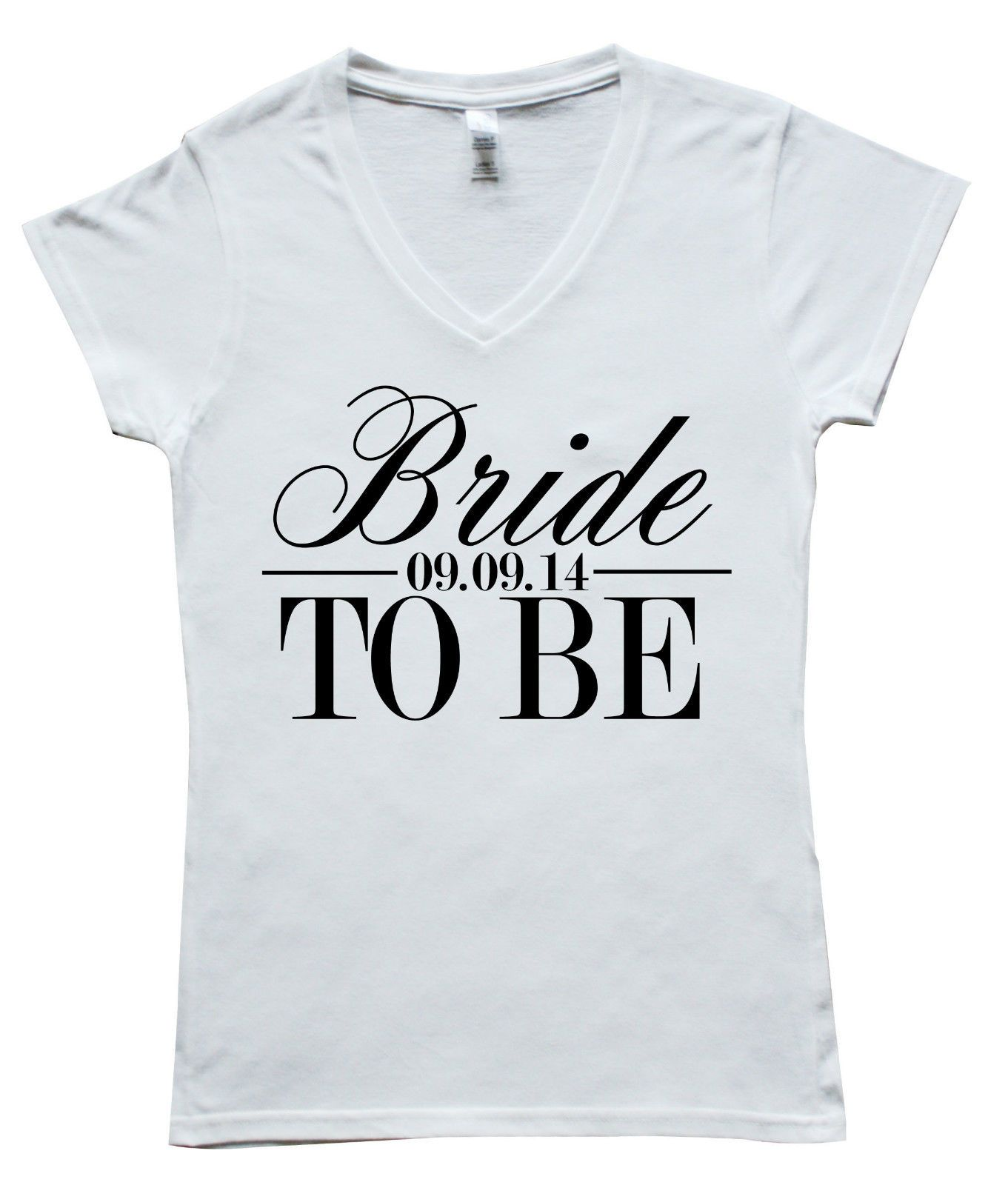 0dbdc111 Bride to be Personalised Date V Neck Womens T-Shirt Wedding Hen Do Gift  S/M/L/XL | eBay
