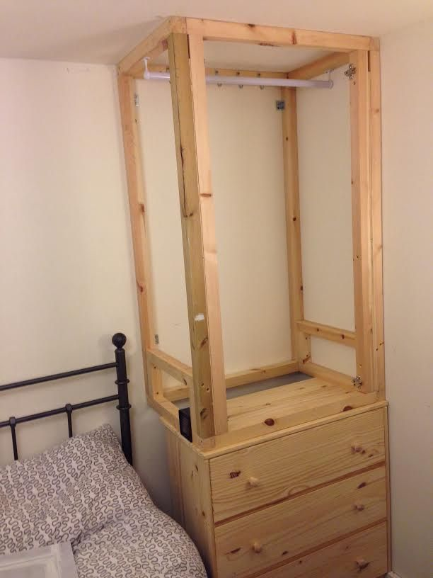 Custom built-ins using ikea Tarva Chest of 3 Drawers into wardrobe ...
