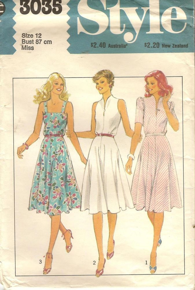 70s Vintage Style 1583 High-line Bodice Dress Sewing Pattern size 14 ...