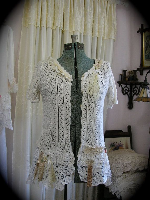 Whimsical Doily Sweater altered cottage