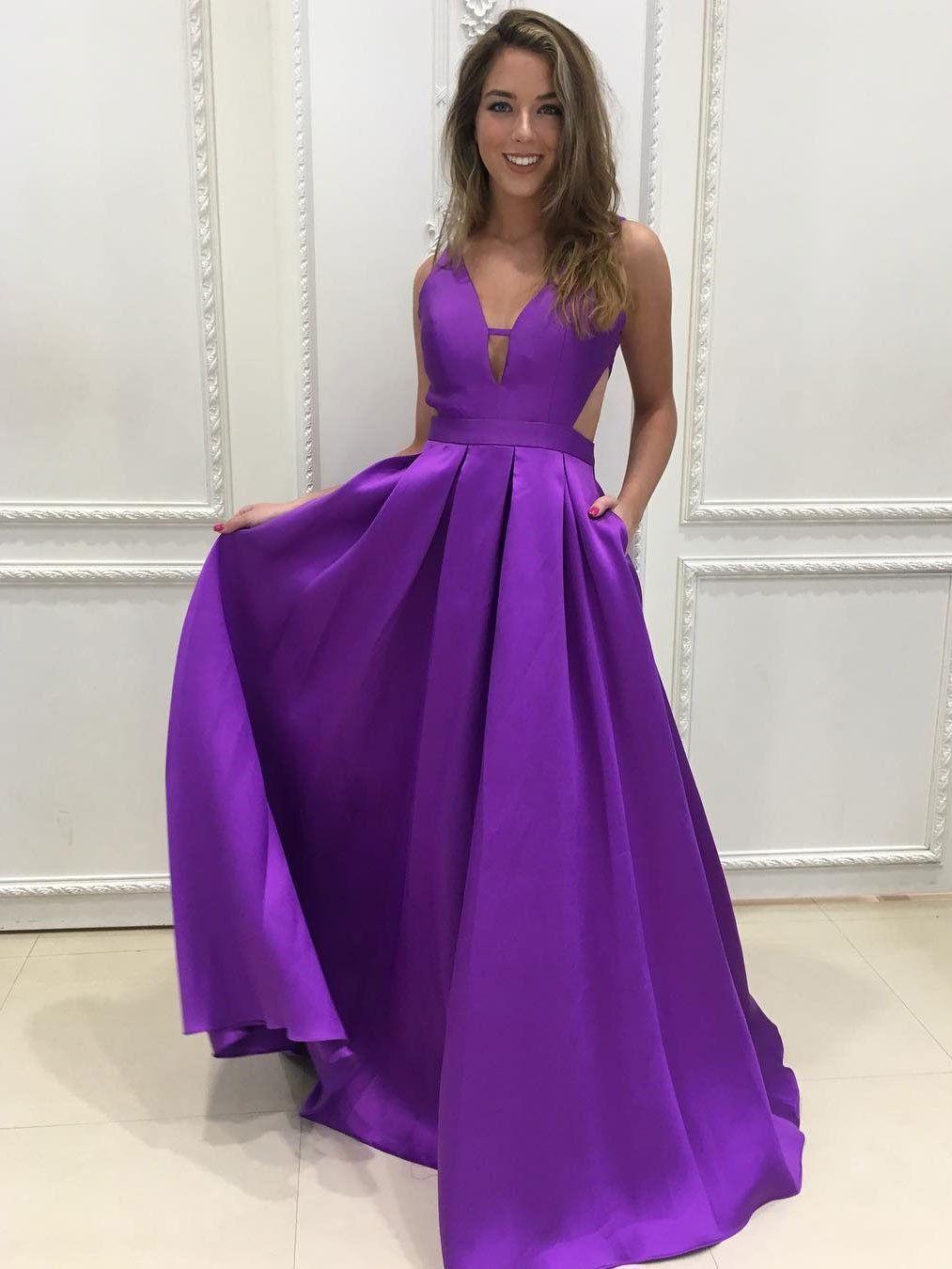 A-line Deep-V Sweep Train Simple Sexy Prom Dresses 2765   Lunares ...