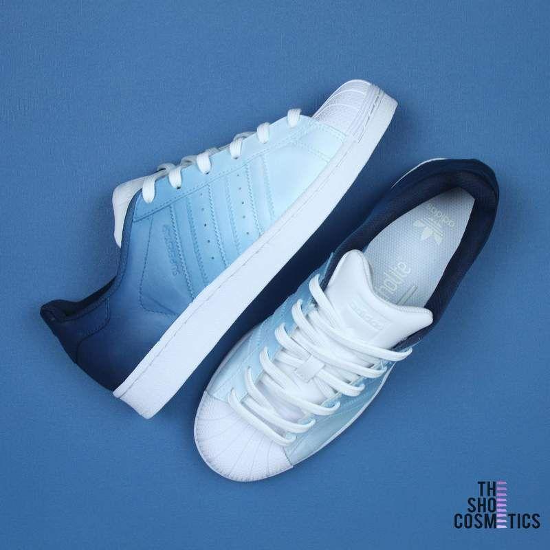 Navy blue ombre adidas superstar custom shoes, 2019