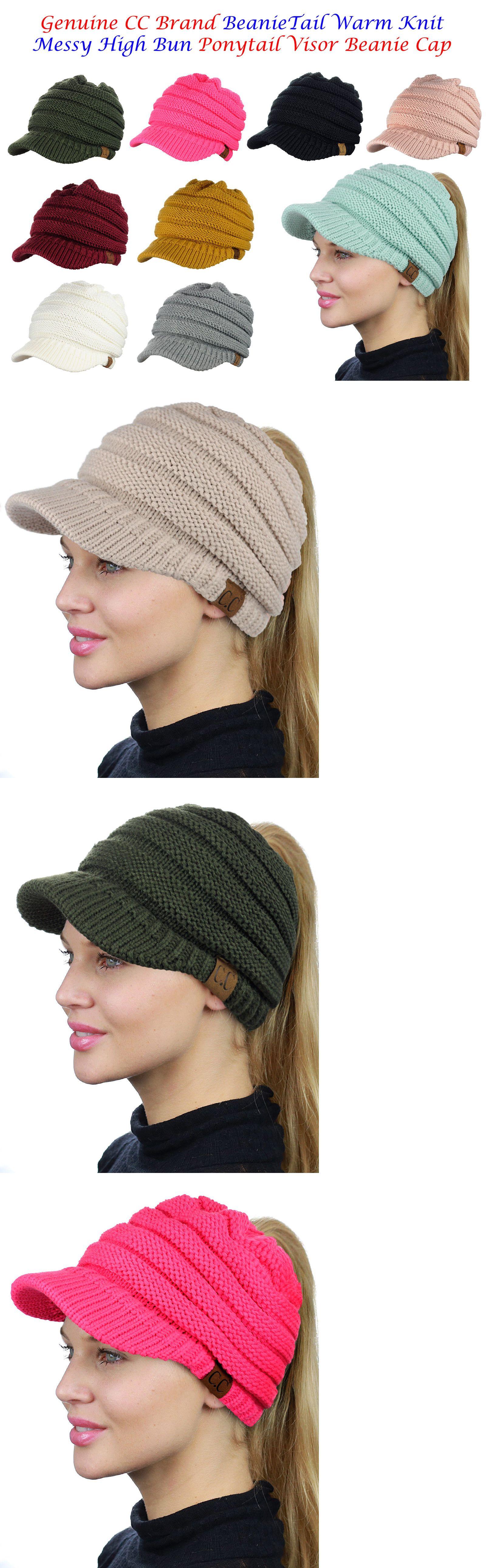 c3b5029c453 Hats 45230  New! Cc Beanietail Warm Knit Messy High Bun Visor Cc Ponytail  Beanie Cap -  BUY IT NOW ONLY   15.99 on  eBay  beanietail  messy  visor   ponytail ...