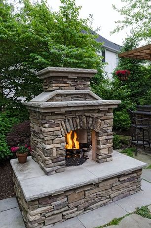 Rustic Landscape Yard With Outdoor Fireplaces Fence Stacked Stone Fireplace Travertine Tile Two Way Trellis