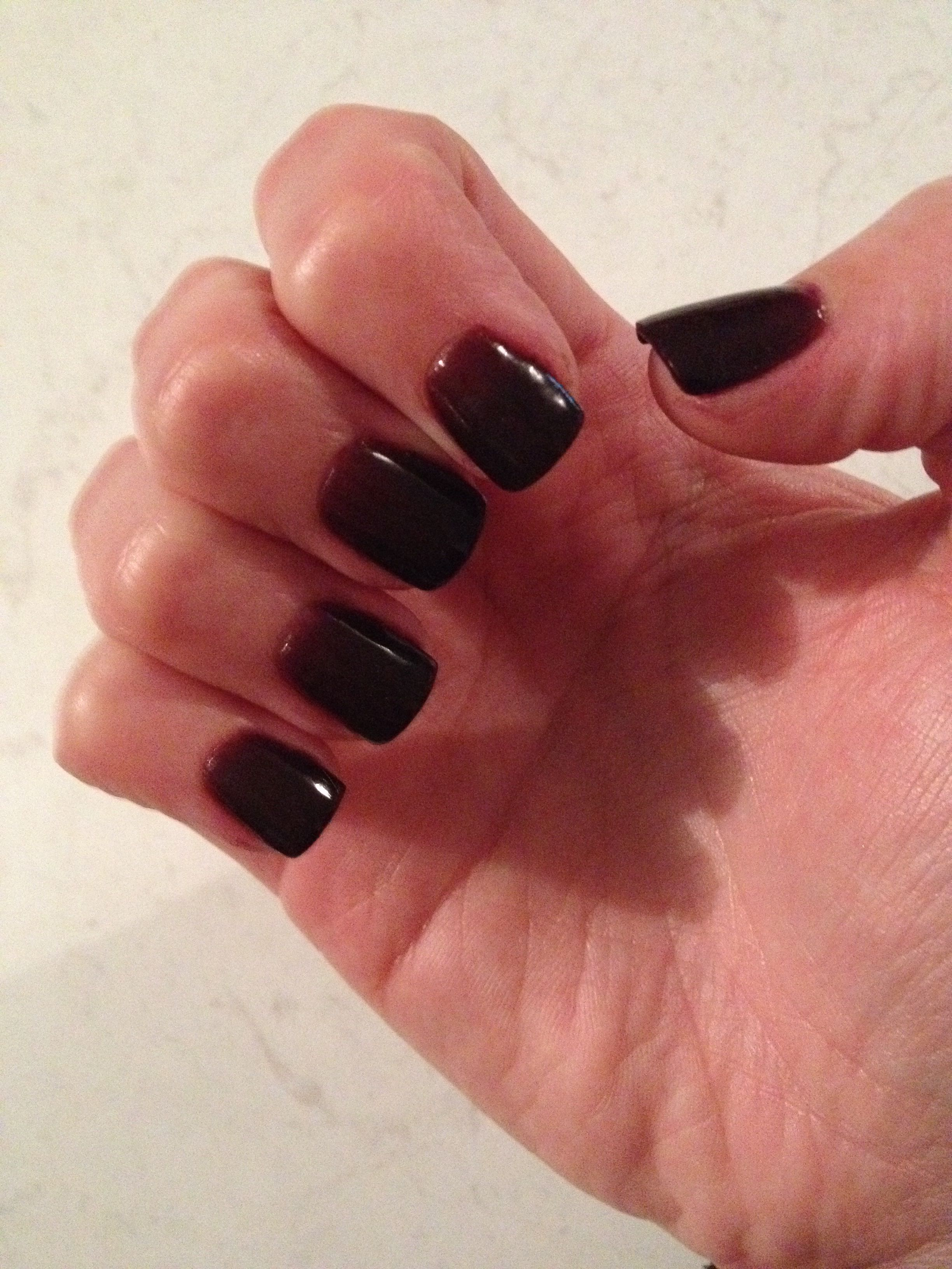 Latest sns nails, dark deep maroon colour & a lot shorter, my nails ...