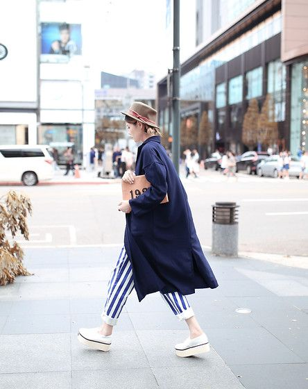 Get this look: http://lb.nu/look/7811840  More looks by Miriam Mibao: http://lb.nu/miriammibao  Items in this look:  Miyuti Trench Coat, Miyuti Stripe Pants   #chic #dapper #street