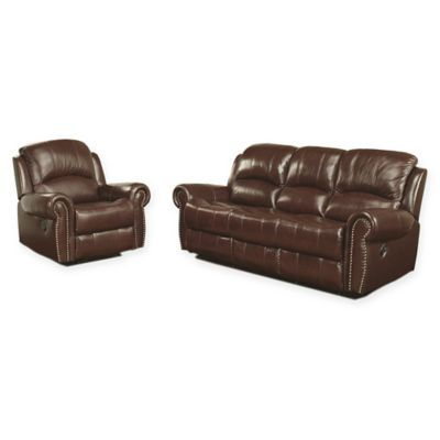 Abbyson Living Riley 2 Piece Leather Reclining Sofa And Loveseat Set In Burgundy Sofa And Loveseat Set Reclining Sofa Leather Sofa And Loveseat