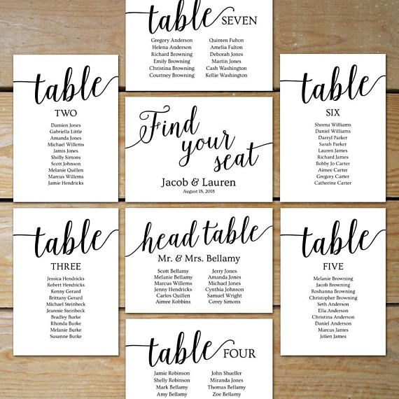 Printable Seating Chart Wedding Seating Chart Cards One Of - Wedding invitation templates: seating chart template wedding